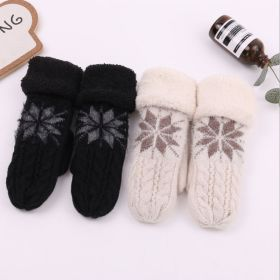 Womens Snowflake Knitted Full Finger Mittens Warm Cute Sweet Thicken Gloves