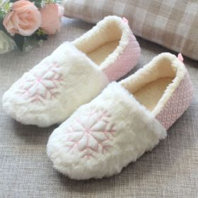 Women's Winter Sweet Snowflake Comfy Closed Back House Slippers Home Shoes