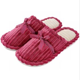 Fall Winter Corduroy Indoor Warm Comfort Clog with Memory Foam Bowknot House Slippers
