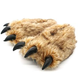 Winter Cartoon Animal Bear Paw Shaped House Slippers Indoor Shoes