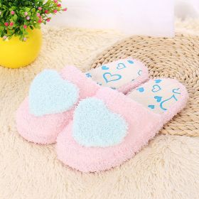 Womens Sweet Pink Heart Comfort Furry Warm House Slippers