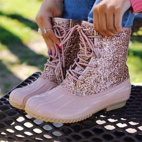 Women Sequins Ski Shoes Rain Boots Daily Lace-up Ankle Boots