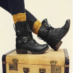 Lace-up Low Heel Ankle Boots with Buckles