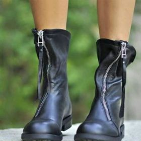 Zipper Comfy Round Toe Ankle Boots