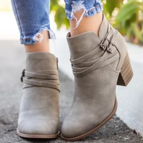 Chunky High Heel Buckles Ankle Boots