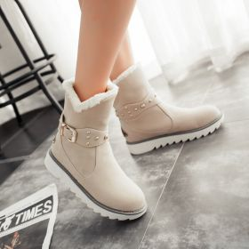 Winter Warm Buckles Plush Casual Ankle Boots