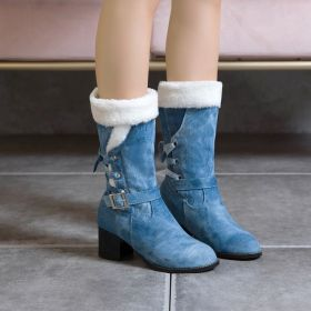 Denim Buckles Warm Mid-calf Boots for Women