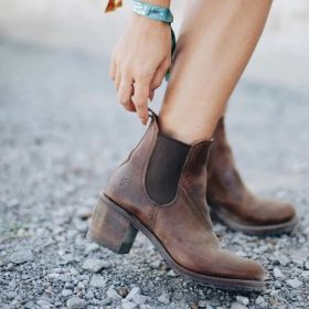 Vintage Chunky Heel Womens Ankle Boots