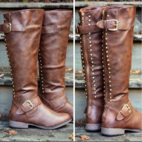 Womens Rivets Buckles High Boots