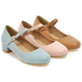 Spring Shoes Sweet Mid-heeled Women's Shoes Buckle Round Toe Girls Pumps
