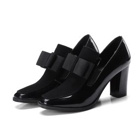Spring Patent Leather Bowknot High Chunky Heel Womens Shoes Pumps