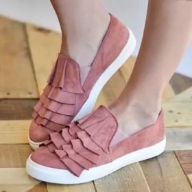 Casual Loafers Womens Ruffles Slip On Comfort Shoes