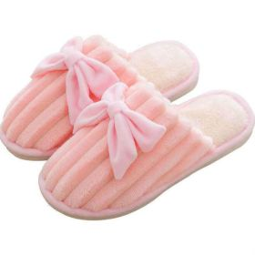 Bowknot Womens Home Slippers Plush Winter Warm House Shoes