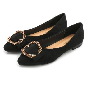 Spring New Buckle Womens Shoes Comfort Flat Suede Pumps Loafers