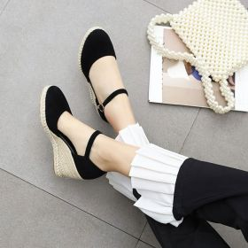 Womens Wedge Heel Shoes Ankle Strap Solid Summer Sandals