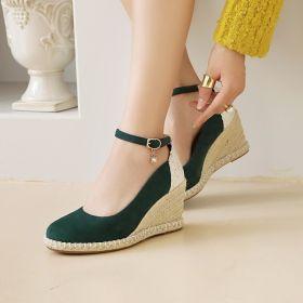 Womens Round Toe Belt Strap Comfort Wedge Heel Pumps