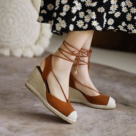 Summer Round Toe Strap Lace-up Wedge Heel Sandals