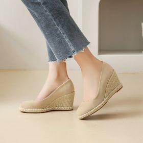 Womens Comfort Round Toe Wedge Heel Shoes Pumps