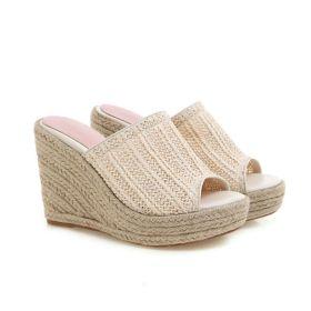Womens Lightweight Straw Woven Wedge Heel Slippers Summer Sandals