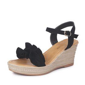 Wedge Heel Platform Buckle Ruffled Sandals