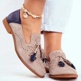 Round Toe Tassels Pink Low Heel Pumps Casual Shoes for Women