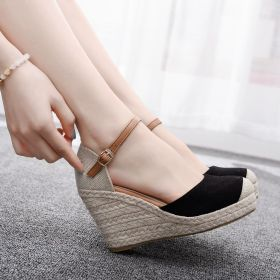 Summer Womens Closed Toe Black High Wedge Heel Sandals
