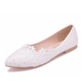 White Lace Shoes for Women Pointed Toe Casual Comfort Flat Pumps