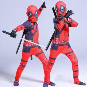Kids Deadpool Costume Superhero Cosplay Halloween Elastic Jumpsuit with Helmet