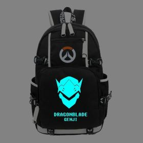 Overwatch Genji Icon Logo Noctilucent Luminious Backpack School Bag