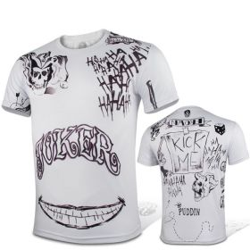 DC Suicide Squad joker Cosplay Sport Tight Tops White T-shirt