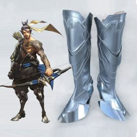 Overwatch Hanzo Shimada Silver Shoes Cosplay Boots