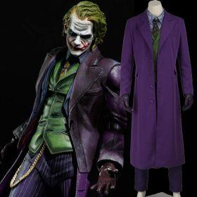 Batman Dark Knight Joker Cosplay Set Gabardine Trench Coat Halloween Costume