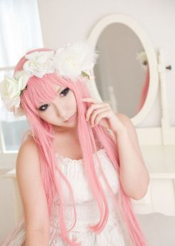 VOCALOID 2 Megurine Luka Long Pink Cosplay Wigs