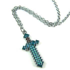 Minecraft Diamond Blue Sword Necklace