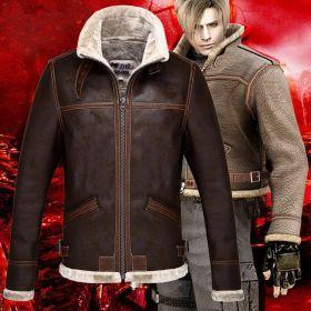 Resident Evil 4 Leon Scott Kennedy Warm Leather Jacket Cosplay Costume
