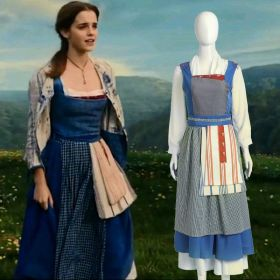 2017 Beauty and the Beast Princess Belle Maid Blue Dress Cosplay Costume