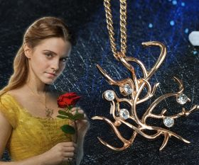 2017 Movie Beauty and the Beast Belle Necklace Cosplay Rose Tree Pendant