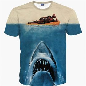 Deadpool 3D Shark Style Men Tee Shirt
