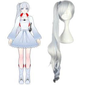 RWBY White Trailer Weiss Schnee Long Ponytail Cosplay Wig