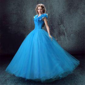 Disney Live Action Film Adult Cinderella Blue Wedding Dress - Deluxe Version