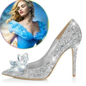 Disney Movie Cinderella Cosplay Lily Glass Slipper Silver Wedding Shoes