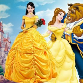 Disney Beauty and the Beast Belle Princess Evening Gown Dress Cosplay Costume