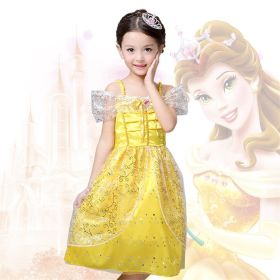 Disney Beauty and the Beast Belle Princess Girls Dress Cosplay Costume For Kids