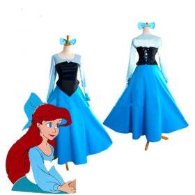 Disney Little Mermaid Ariel Princess Blue Dress Party Cosplay Costume