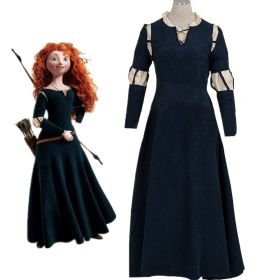 Disney Brave Princess Merida Dress Gown Outfit Cosplay Costume