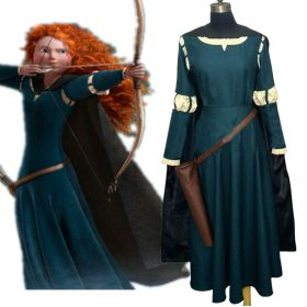 Disney Brave Princess Merida Dress Cosplay Costume Gown Outfit - Deluxe Version