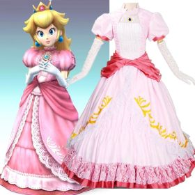 Super Mario Princess Peach Pink Party Dress Cosplay Costume