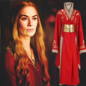 Game of Thrones Cosplay Queen Cersei Lannister Red Dress Cosplay Costume