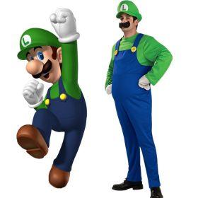 Super Mario Brothers Deluxe Luigi Mario Adult Cosplay Costume