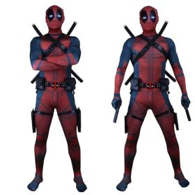 Adult Kids Superhero Cosplay Deadpool Costume Halloween With Helmet